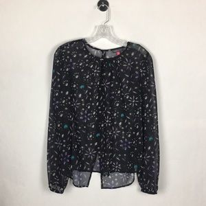 Vince Camuto sheer Jewel black top Size M
